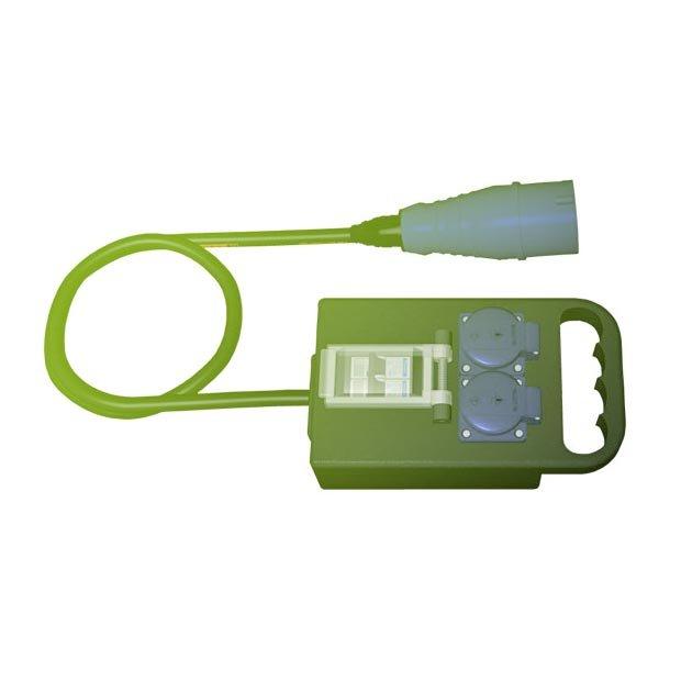 Rozvodna Penál 32A 3P (IN) na 2x schuko zásuvka (OUT) s pojistkami