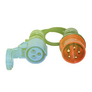 Redukce 32A 5P pětikolík 380V/400V (IN) na 32A 3P 230V (OUT)